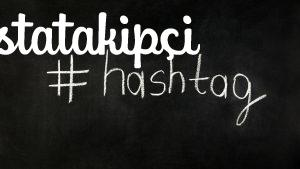 Hashtag on chalkboard