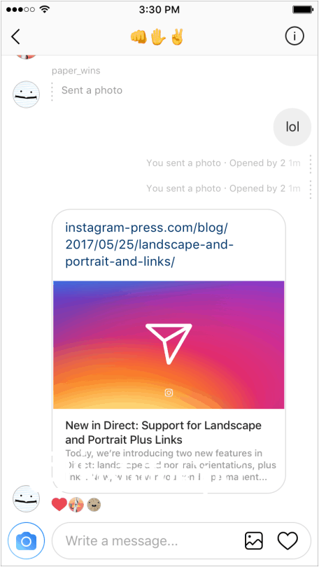 Instagram direk mesaj link