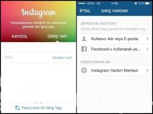 instagram sifre kirma