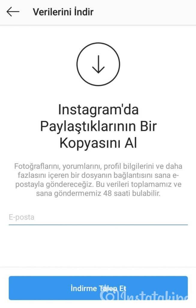 instagram yedekleme