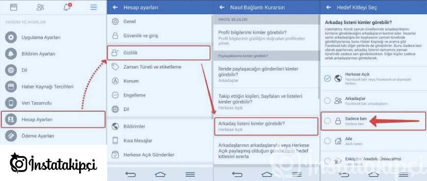 facebook arkadaş gizleme