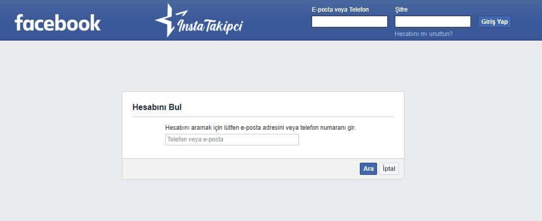 facebook hesap bul sayfası