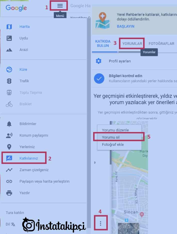 google haritalar yorum silme