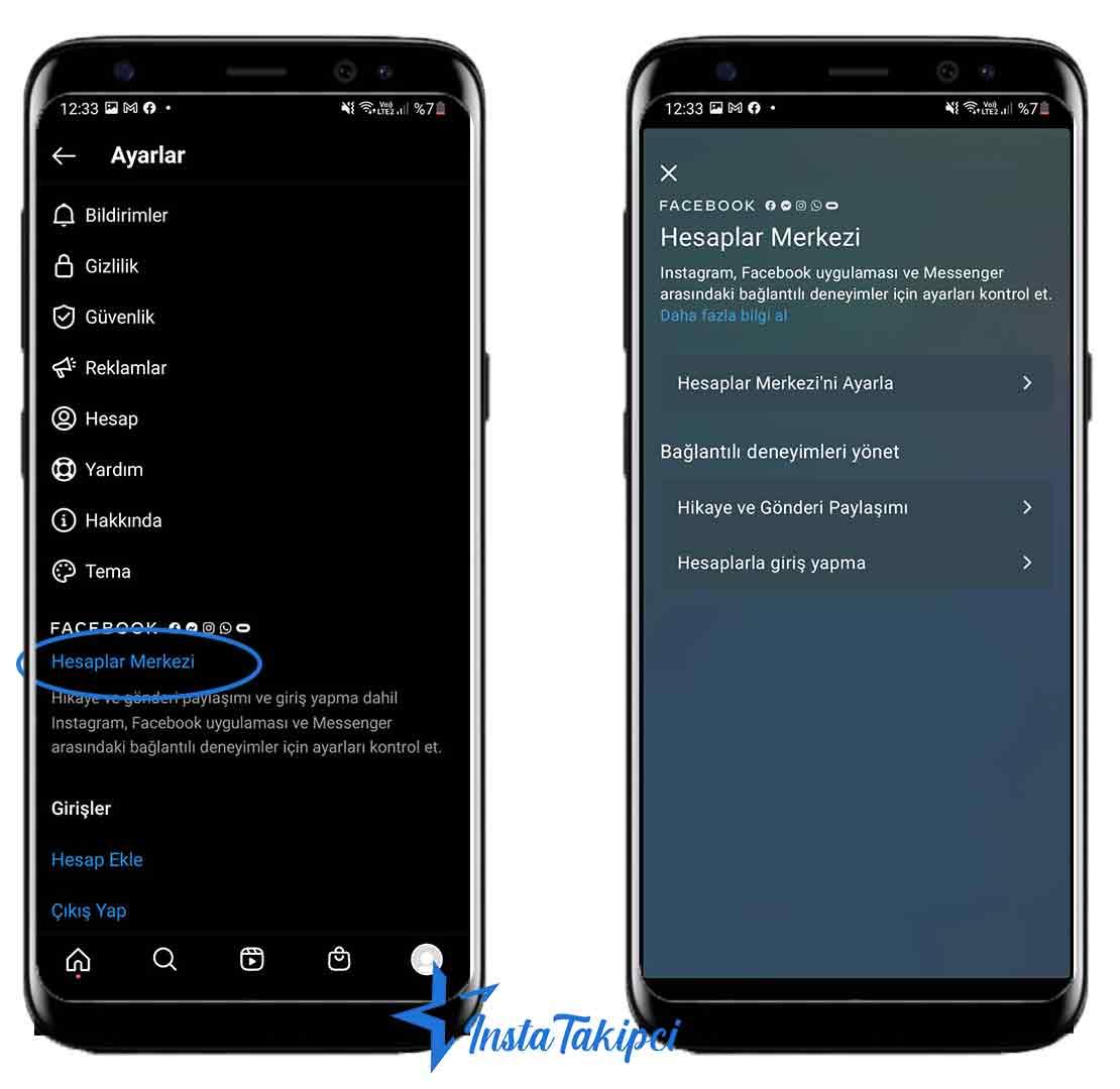 instagrama bağlı hesapları kaldırma android