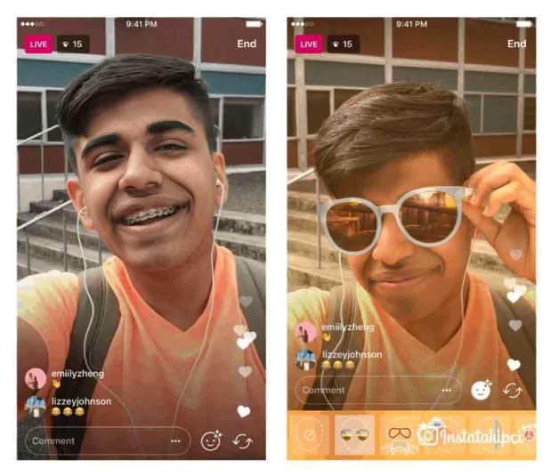 Instagram Canlı Yayında Yüz Filtresi