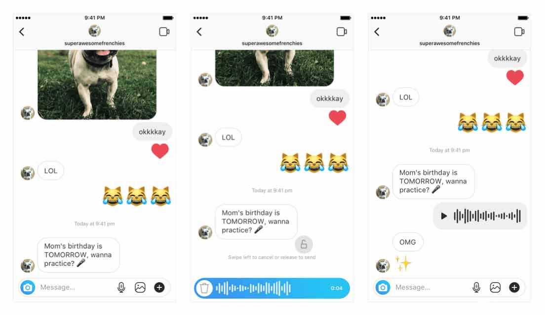Instagram Direct Mesaj Üzerinden Ses Kaydı ile Mesajlaşma