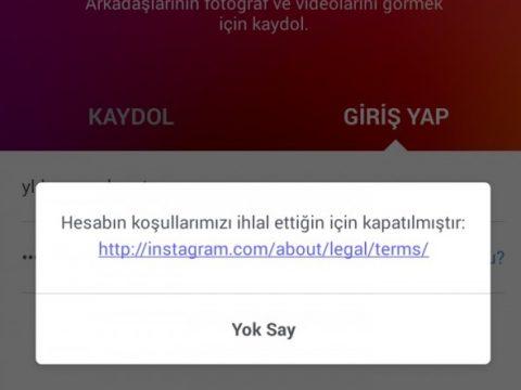 Instagram hesabın koşullarımızı ihlal ettiği için kapatılmıştır