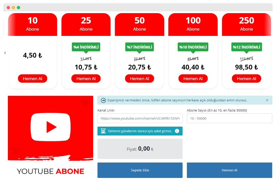 Instatakipci YouTube Hizmeti