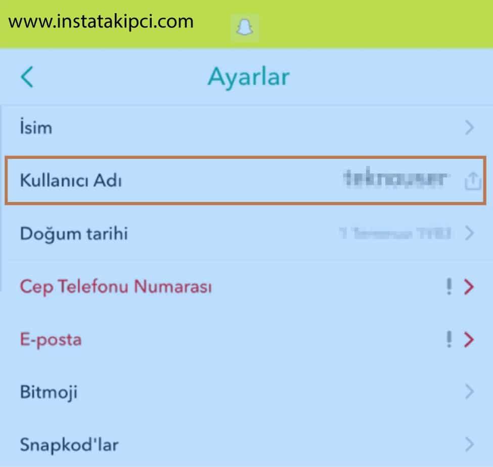 snapchat kullanıcı ismi değiştirme