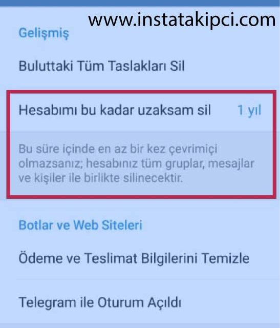 telegram hesabı sil