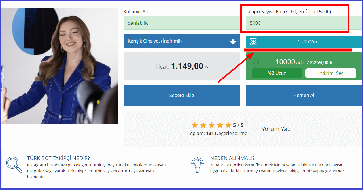 satın almak istediğiniz takipçi sayısını giriniz