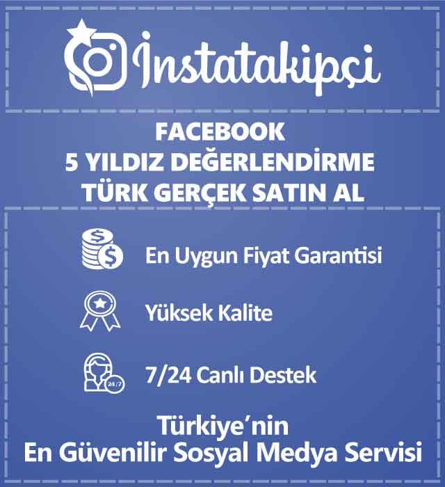 Facebook Türk Gerçek 5 Yıldız Değerlendirme Satın Al